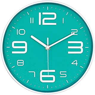 45Min 10-Inch 3D Number Dial Face Modern Wall Clock, Silent Non-Ticking Round Home Decor Wall Clock with Arabic Numerals, 7 Colors(Cyan)