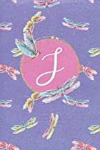 J: Dragonfly Journal, personalized monogram initial J blank lined notebook | Decorated interior pages with dragonflies