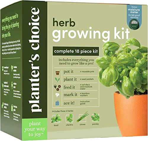 Herb Garden Growing Kit - Complete Kit - Easily Grow 4 Indoor Herbs from Seeds (Basil, Cilantro, Chives & Parsley) & ...