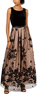 Jessica Howard Women's Sleeveless Gown with Pleated Skirt and Tie Sash