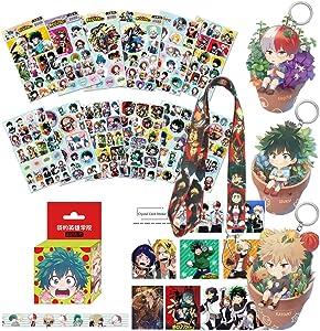 My Hero Academia Stickers Gift Set-36 Pcs My Hero Academia Sticker+ 1 Izuku Midoriya Katsuki Bakugou Shoto Todoroki Keychain + 1My Hero Academia Paper Tape +1 Lanyard +10 PCS Random ID Card Sticker