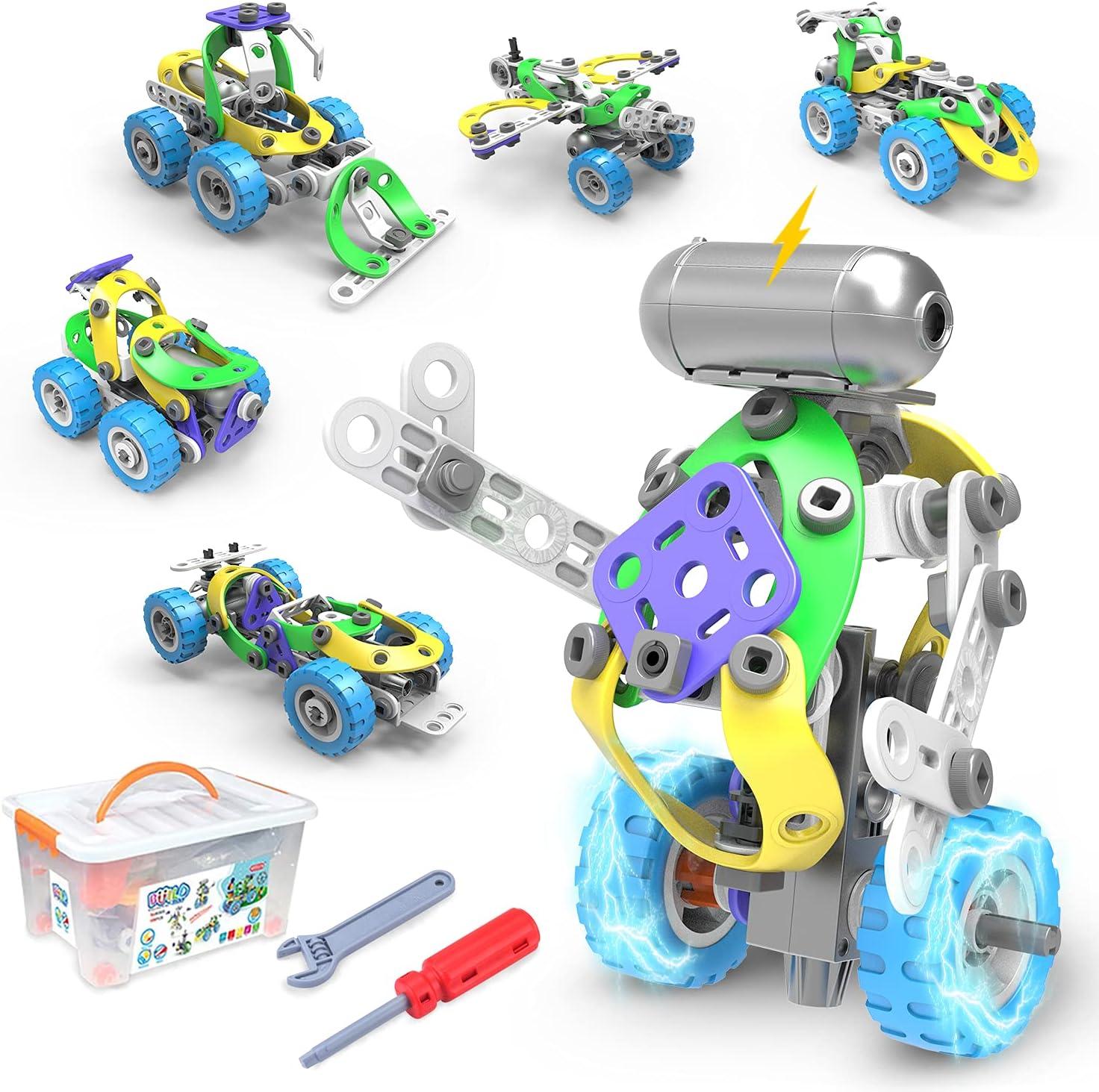 CENOVE Juguetes de Construcción Stem, 109 Piezas Kit de Construcción Educativo Juguetes con Motor Eléctrico Mejor Regalo para Niños y Niñas 5 6 7 8 9 10+ años
