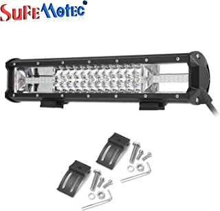 SUFEMOTEC NEW 16 Inch 216W Tri Row Offroad CREE LED Light Bar Driving Work Lights For Toyota FJ Cruiser Off-road 4WD 4x4 Tractor Truck Boat Military Marine UTV Jeep Headlight