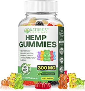 Organic Hemp Oil Extract Gummies 300MG - Ultra Premium Pain Relief Anti-Inflammatory, Stress & Anxiety Relief, Joint Support, Sleep Aid, Omega 3 6 9, Non-GMO Ultra-Pure CO2 Extracted