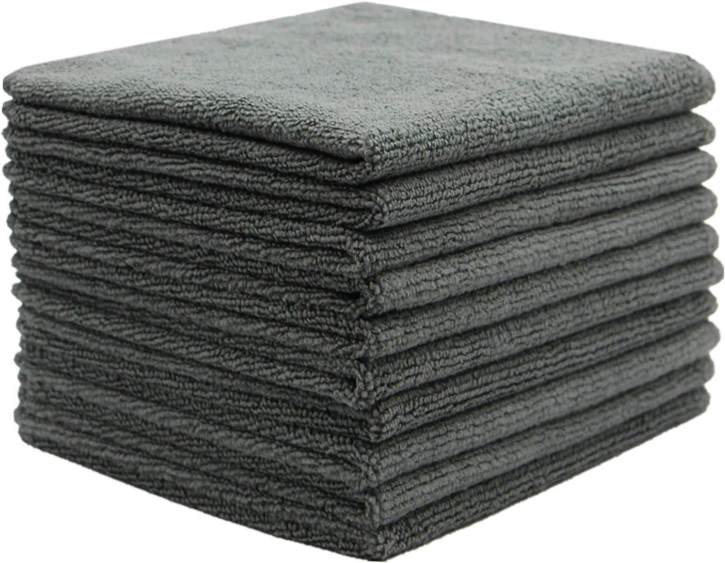 Fyien Mikrofaser Reinigungstücher Geschirrtücher Mehrzweck Küchenwaschtuch Abags Zum Waschen Schnelltrocknend 30 X 30 Cm 10 Stück Grau 30 X 30 Cm Küche Haushalt