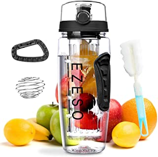 EZESO ESSENTIAL SKINCARE Fruit Infuser Bottle - 32 OZ BPA-Free Sports Bottle - Removable Infusion Rod, Leak Proof Flip Top Lid, Time Marked Fruit Infuser Water Bottle Ideal for Office and Home