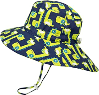 Sun Hat for Boys Floppy - UV Protection Summer Beach Hat Kids Bucket Wide Brim (2-4T, Dinosaur Green)