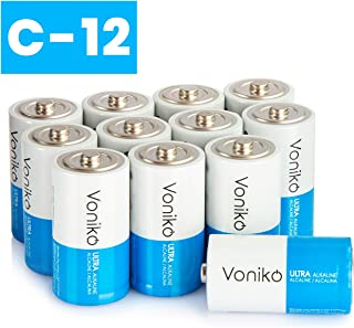 VONIKO Ultra Alkaline 12 C Batteries 12 Pack – Size C Batteries Pack – 10 Year Shelf Life & 6-9 Times The Power As Carbon Batteries   12 Pack C Batteries 1.5 Volt – C Batteries