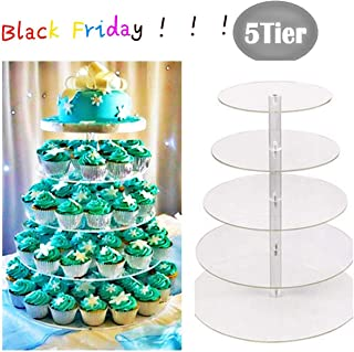Gijoki 5 Tier Cake Stands New Round Crystal Clear Acrylic Cupcake Stand Wedding Display Cake Tower