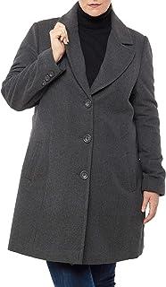 Alice Womens Plus Size Wool Overcoat Classic Notch Lapel Walking Coat