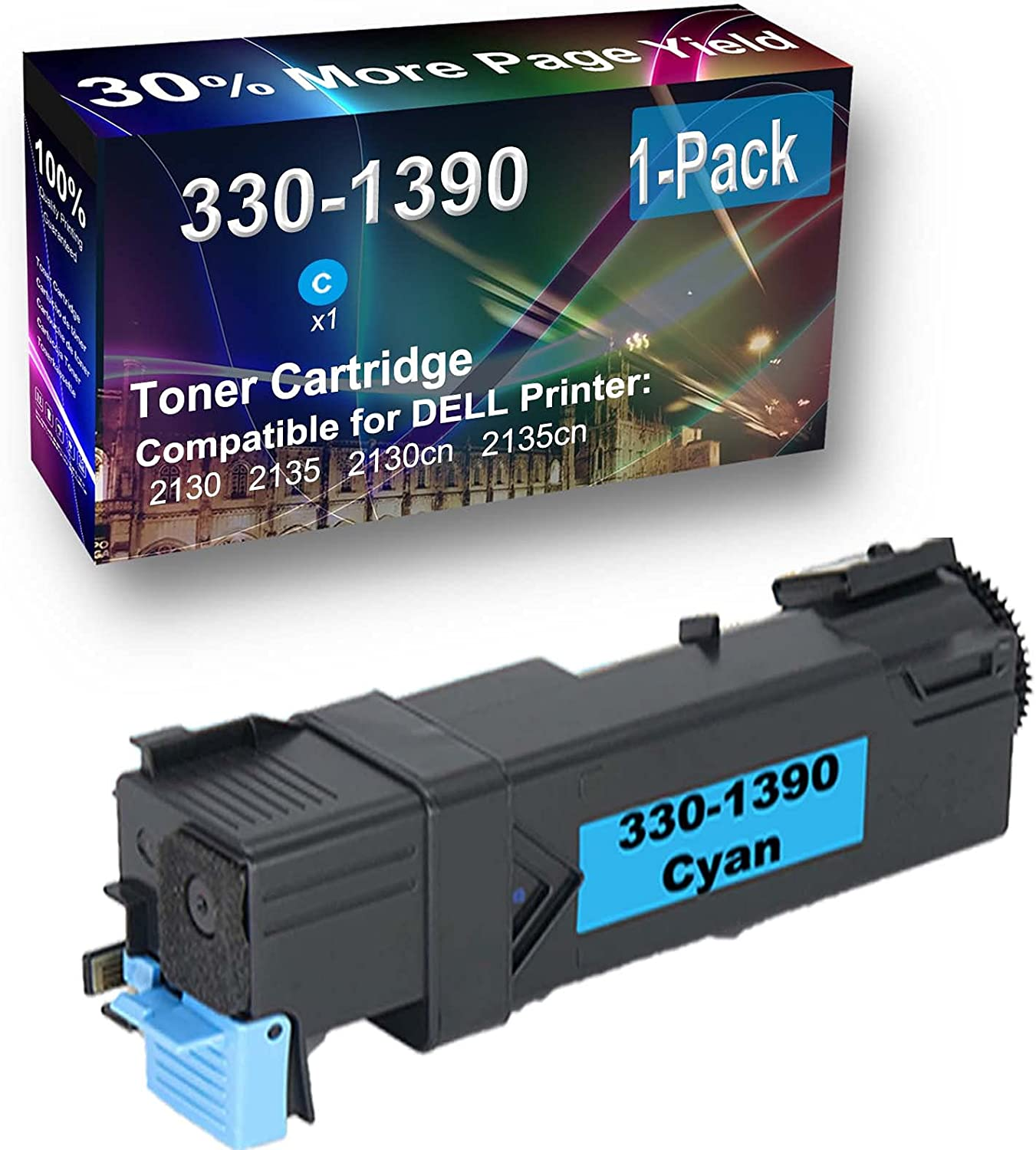 1-Pack (Cyan) Compatible High Capacity 330-1390 Toner Cartridge Used for Dell 2130, 2135 Printer