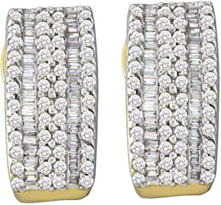 14K Yellow and White Two Tone Gold Channel Invisible Set Round Diamond U Shape Hoop Earrings - (.93 cttw)