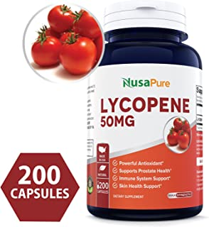 Lycopene 50MG 200 Capsules (Non-GMO & Gluten Free) Antioxidant Natural Tomato Great for Prostate Health, Immune System Support, Heart Health, Eyesight Support