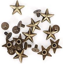 Antirost nitar 14 mm stjärnform hållbar robust brons guld dubb skruvknappar läder hantverk skor för kläder (brons)