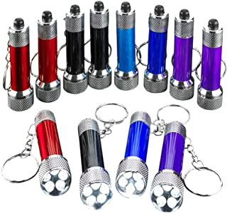 Kicko Mini LED Flashlight Keychains 12-Pack Assorted Colors - 2.5 Inches Mini Plastic Pocket Torch - 5-Bulb LED Keyring for Camping, Kids, Party Favor, Goody Bag Filler, Prize, Pocket Size