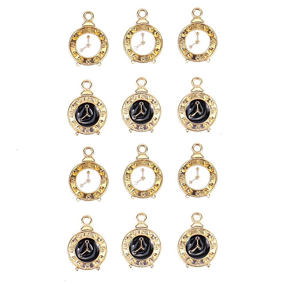 Monrocco 30Pcs Enamel Alarm Clock Charms Pendants Alloy Charms for Making Necklace Bracelet Earrings