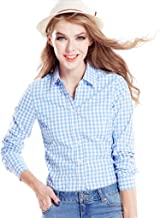 Tortor 1Bacha Women's Gingham Long Sleeve Button Down Plaid Shirt