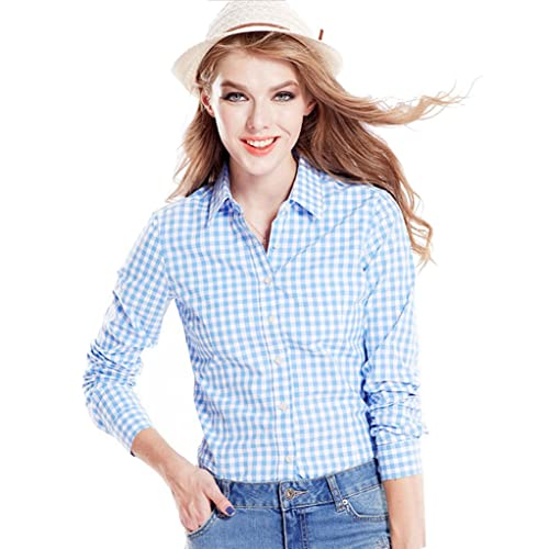 80af6e6cda Tortor 1Bacha Women's Gingham Long Sleeve Button Down Plaid Shirt
