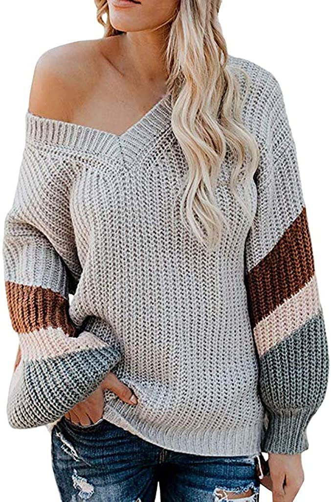 Hoodies for Women, F_Gotal Women's V Neck Long Sleeve Striped Knitted Chunky Pullover Sweater Tops Outwear for Teen Girl