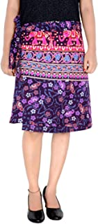 Women's Cotton Printed Knee Length Regular Wrap Around Skirt (W20NT_0007)