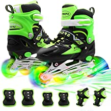 PETUOL Kids Adjustable Inline Skates, Safe Durable Roller with 8 Full Light Up Illuminating Wheels Beginner Skates Fun Rol...