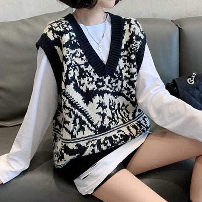 Womens Vest Preppy Style Knitwear V-Neck Plaid Tank Top Printed Sweaters Streetwear