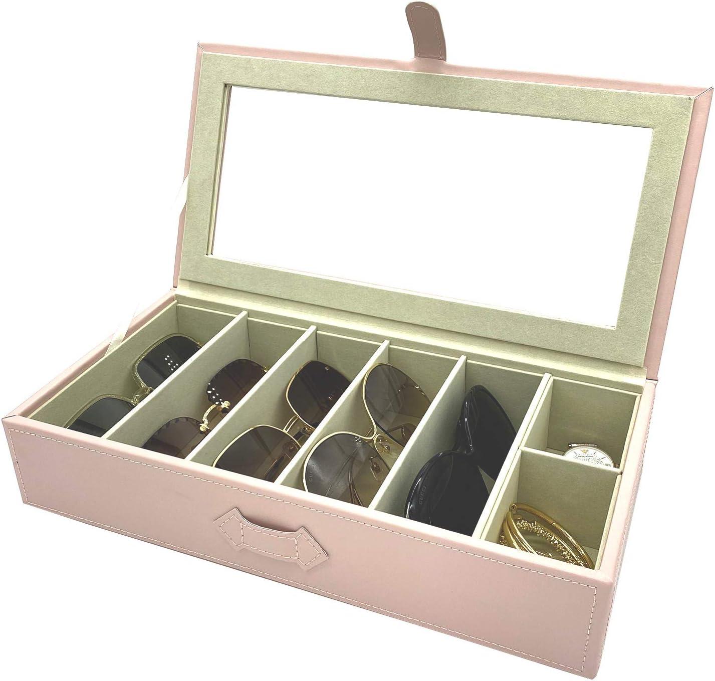 UnionPlus Eyeglass Sunglass Glasses Organizer Collector - 6-Slot Faux Leather Storage Case Box (Pearl Pink)