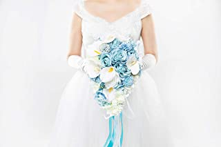 Abbie Home Light Blue Calla Lily White Dahlia Cascading Bridal Bouquets - Silk Flowers for Beach Wedding with Ribbon and Lace Décor (A Cascading Bouquet)