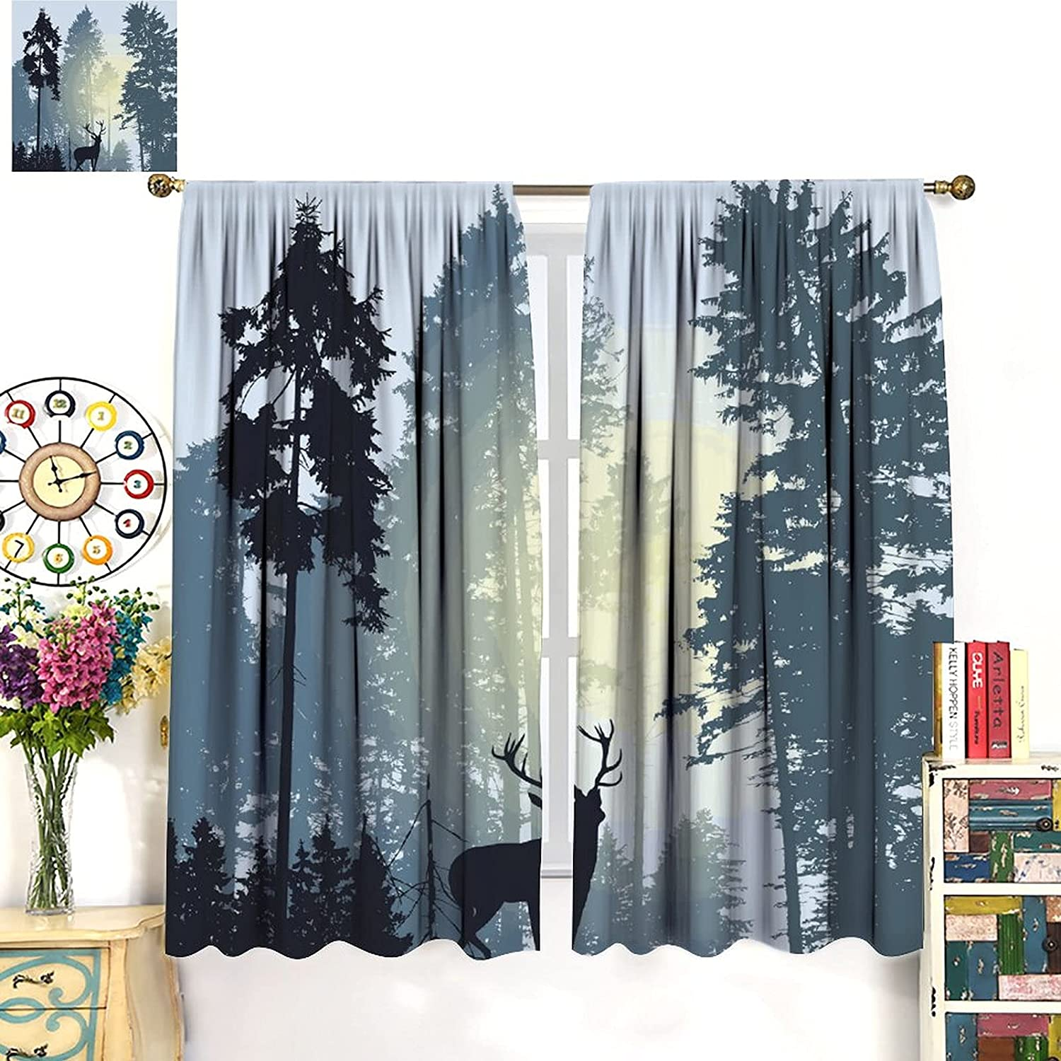 Decor Curtains Vintage Rustic Max 80% OFF New color 21 85x85inch Forest Moose