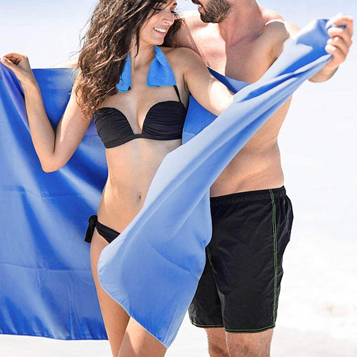 Microfiber Travel Towel XL 30x60 with Free Hand Towel  Fast Drying, Compact, Soft, Light, Antibacterial. for Backpacking, Camping, Beach, Gym, Swimming(blueee)