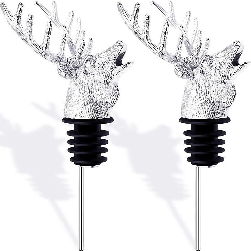 Blulu 2 Pieces Deer Head Shape Wine Pourer Silvery Animal Wine Aerators Pourer