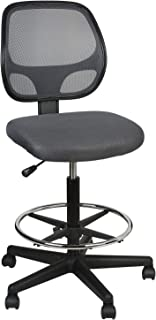 LUCKWIND Office Drafting Chair Mesh - Armless Task Ergonomic Lumbar Support Mid Back Computer Desk Chair Adjustable Stool Swivel Chair with Adjustable Chrome Foot Rest (SGS-BIFMA 21-27