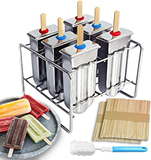 kingleder Stainless Steel Popsicle Molds, Set of 6 Ice Pop Maker, Ice Cream Lolly Makers with Bamboo Stick Stand Brush