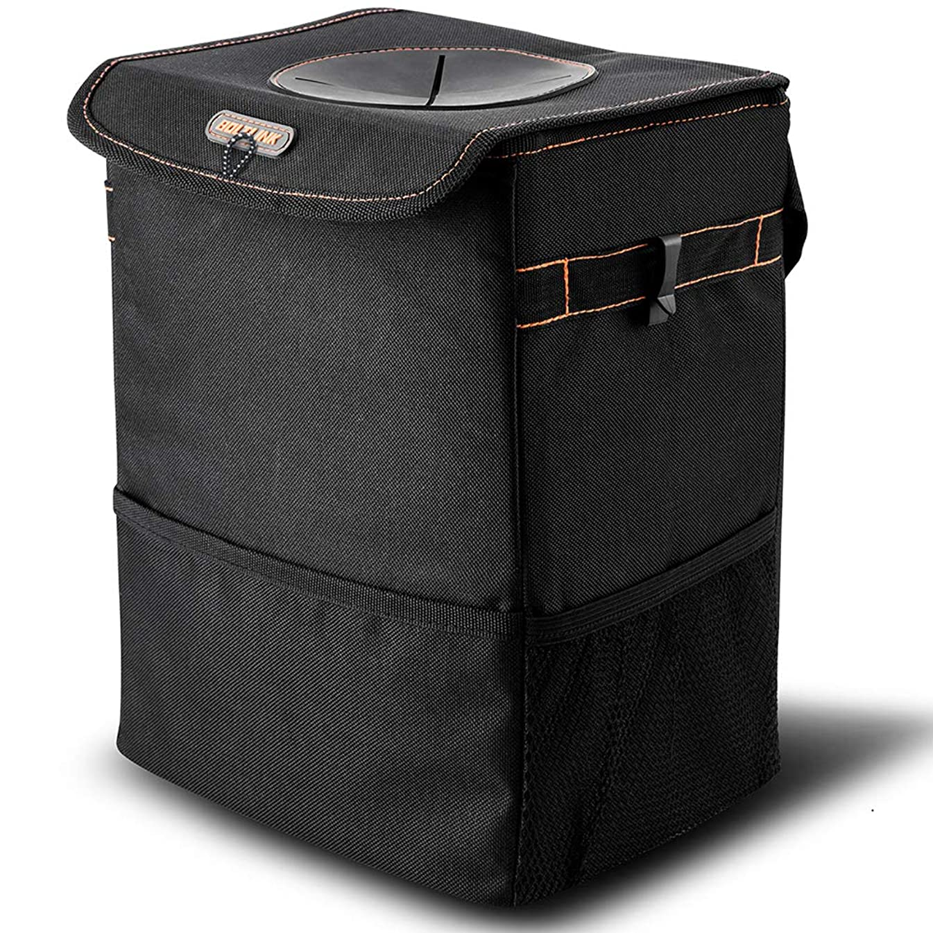 BOLTLINK Car Trash Can with Lid, Car Trash Bag Hanging for Headrest with 3 Storage Pockets, Portable Car Accessories Organizer for Women, 100% Leak-Proof Vinyl Inside Lining