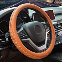 Alusbell Microfiber Leather Steering Wheel Cover for Men Women Anti-Slip Auto Car Steering Wheel Cover Universal 15 Inches Tan