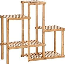 SONGMICS Bamboo Plant Stand, Flower Shelf, Display Rack, Adjustable Shelving Unit for Balcony, Bathroom, Living Room, Yard, Garden, Indoor, Outdoor, Natural UBCB92NL
