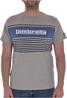 Lambretta Mens Panel Stripe Short Sleeve Casual T-Shirt Top - Grey Marl - L