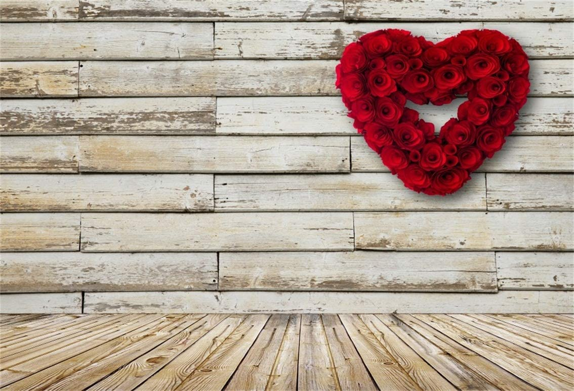 LB Red Rose on The Love Model Valentines Day Backdrop for Photography 10x10ft Rustic White Wood Wall Background for Photographers Baby Kids Portrait Photo Backdrops Studio Props