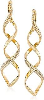 0.37 ct. t.w. Diamond Spiral Drop Earrings in 14kt Yellow Gold
