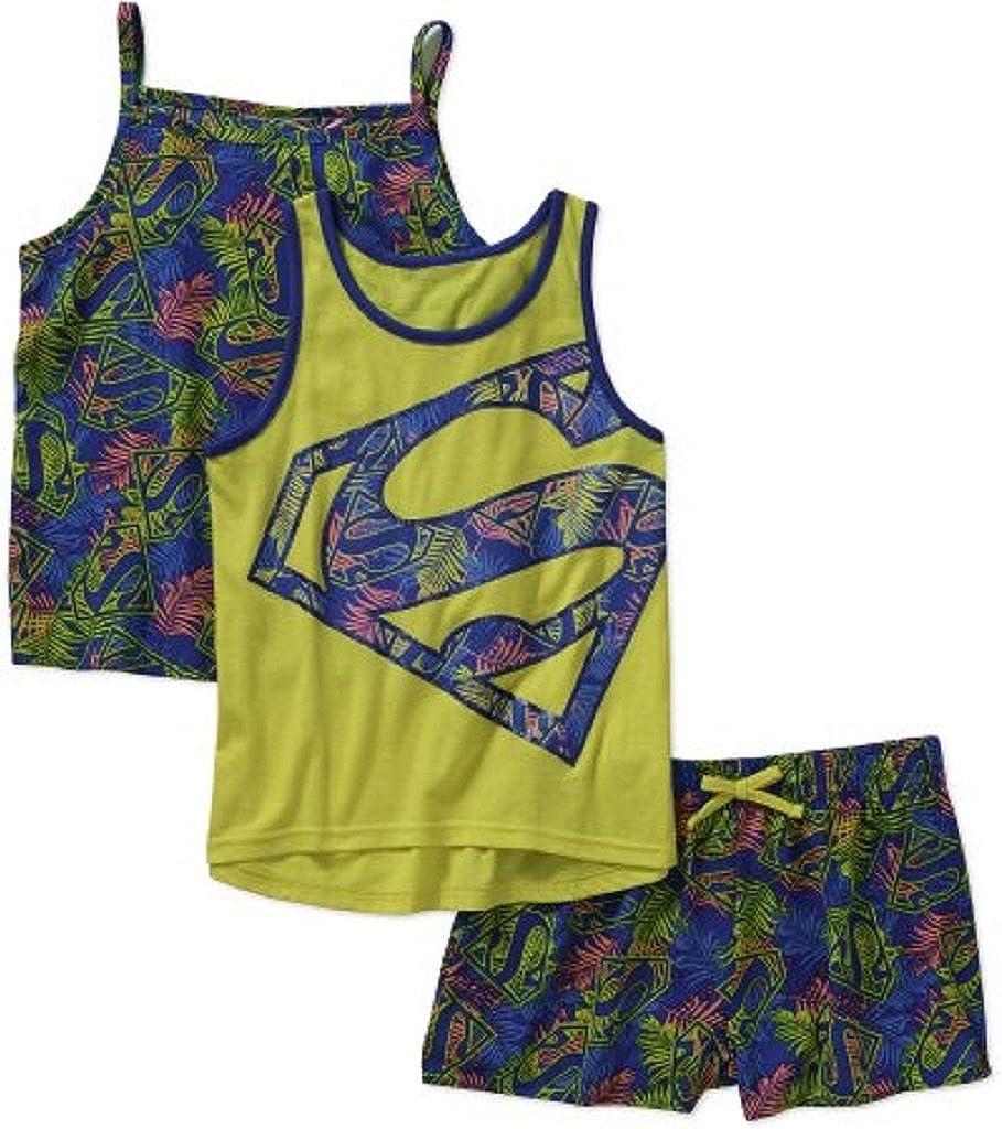 Supergirl Girls' Tank, Cami, and Shorts 3 Piece Set (M 7/8, Sunflower) Yellow