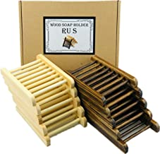 Ru S 8 Piece Home Bamboo Wood Soap Holder, Bathroom Wooden Soap Case, Hand Craft Bathtub Shower Dish Accessories