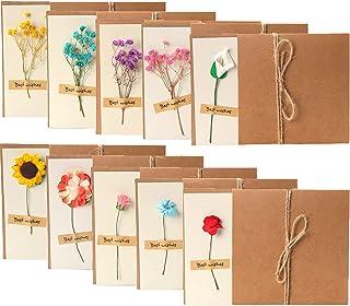 レターセット メッセージカードミニ10枚+花束10枚付き 便箋 手紙セット おしゃれ かわいい 手作り造花 はがき 祝日 お祝い 挨拶 結婚式 ラブレター お見舞い お祝いカード 誕生日 カード 感謝状 (メッセージカード 感謝)