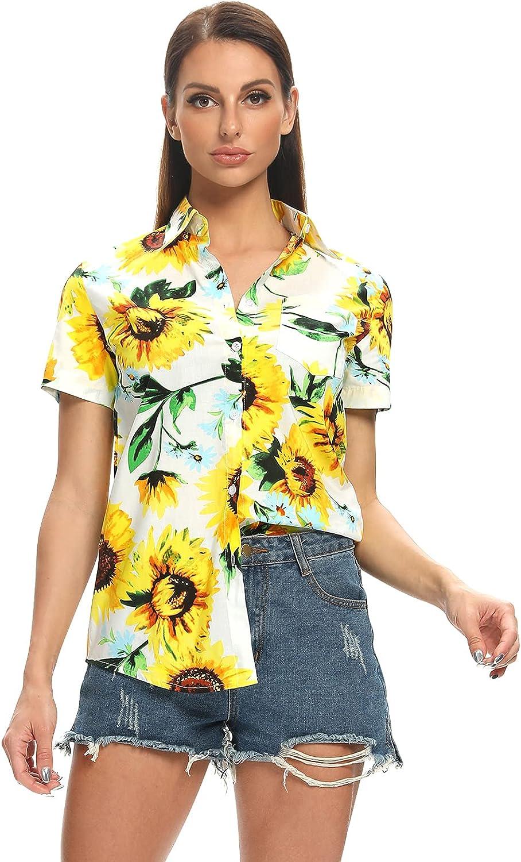 Aeslech Women's Button Down Hawaiian Shirt Lightweight Sunflower Lemon Avocado Print