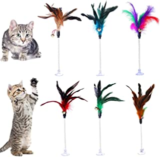 Lainrrew 6 PCS Cat Feather Wand, Wire Spring Cat Tease Rod with Bell & Sucker Flexible Cat Feather Toys Interactive Feather Teaser for Kitten Cat Dogs