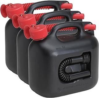 3x Benzinkanister PREMIUM 5 Liter inkl. Benzin  & Dieselauslaufrohr(en) 3er Set