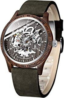 IK Colouring Men Watches, Wood Case Casual Automatic Mechanical Skeleton Wrist-Watch Genuine Leather Bracelet