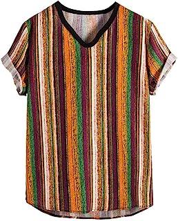 Joe Wenko Womens Thin Blouse Striped Tee Short Sleeve Printed T-Shirt