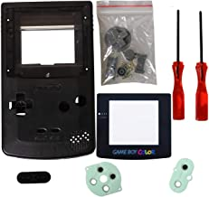 eJiasu Full Replace Parts Housing Shell Pack for Nintendo GBC Gameboy Color Shell(Transparent Black Case with Lens and Screwdriver)