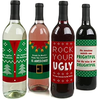 Big Dot of Happiness Ugly Sweater - Holiday and Christmas Party Decorations for Women and Men - Wine Bottle Label Stickers - Set of 4