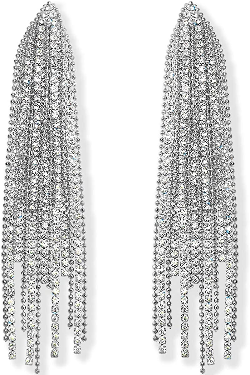 Humble Today's only Chic Simulated Diamond Long Earrings Women Fees free!! Cubic Zi for -
